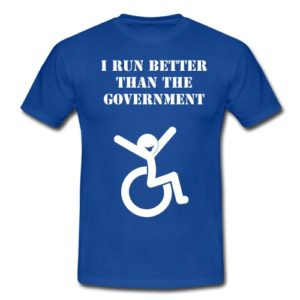 'I run better than the government' t-shirt.